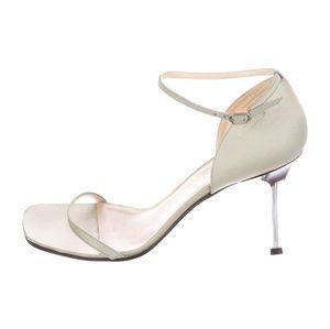 Chanel sage twill square toe sandals with blue sti